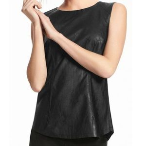 Cabi Fleather Faux Leather Top Size 4